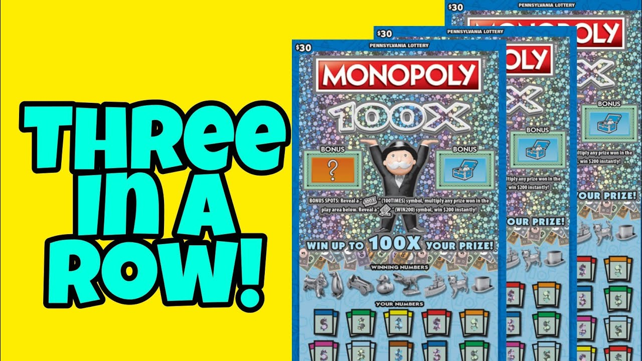 Pa Lottery 🔴 Monopoly 100x Scratch Off Tickets   $3,000,000 Top Prize