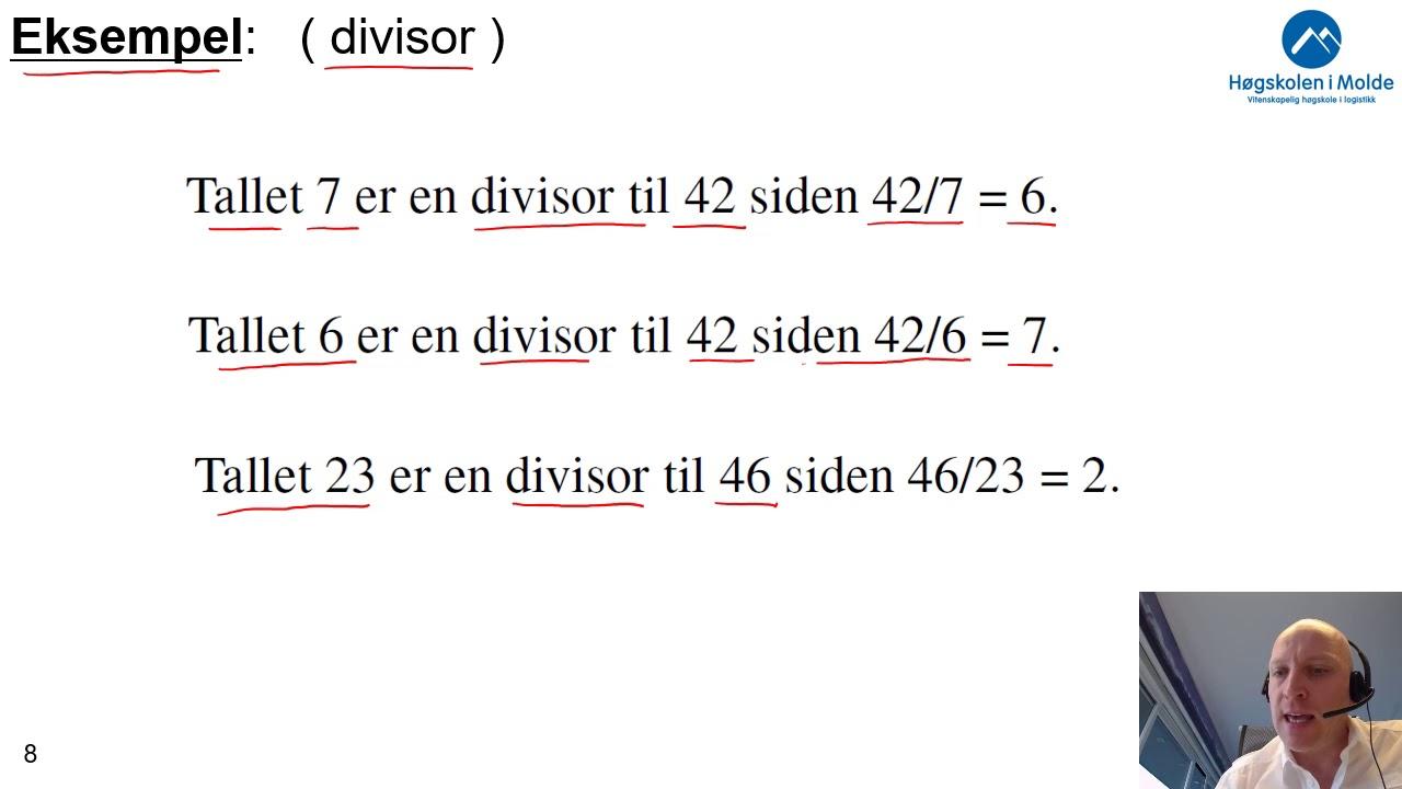 Uke 2.1a Brøk, forkorte og utvide brøker, divisor
