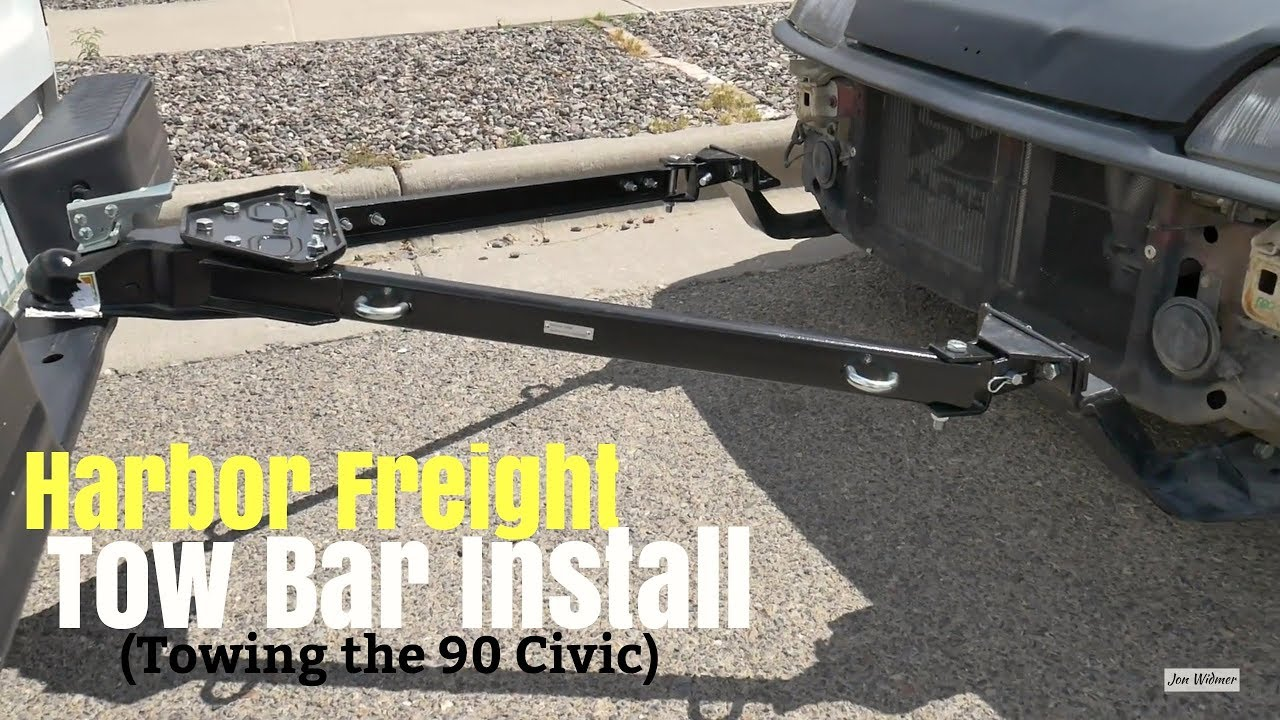 Harbor Freight Adjustable Tow Bar Install - Towing my EF Civic B20B ...