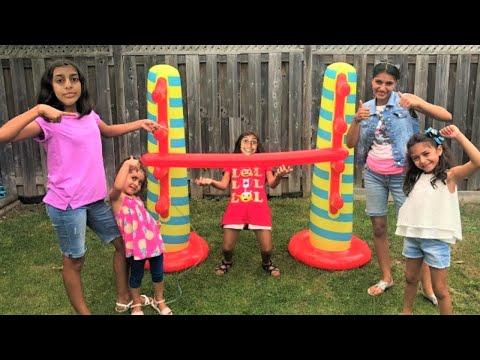 Kids play Inflatable Limbo Challenge with HZHtube kids fun!! family fun game