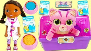 Doc McStuffins Feeds Whispers Lost Kittens Milk Carton Surprise Toys!
