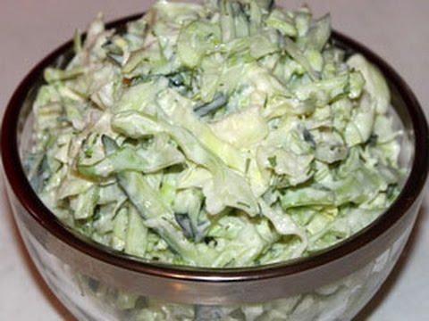 Салат из свежей капусты и огурцов с сыром Фета