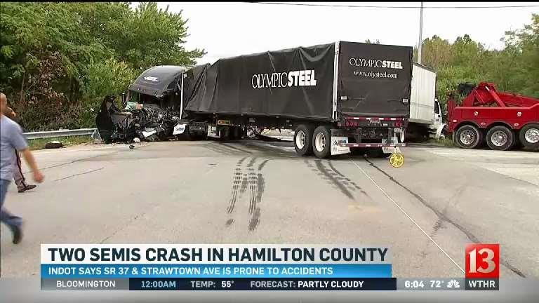 Two semis crash
