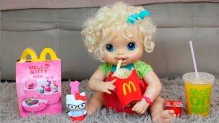 Baby Alive no Mc Donald's Clarabela e Aninha Comendo McLanche Feliz
