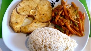 SHARK with Coconut Milk | Fish Recipe | Rice and Sauteed Vegetables | Shark Steaks