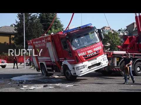 Call 911? Firefighter truck FLIPS over at brigade festival near Milan
