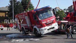 Call 911? Firefighter truck FLIPS over at brigade festival near Milan