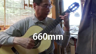 Classical guitar,  String scale difference comparison.
