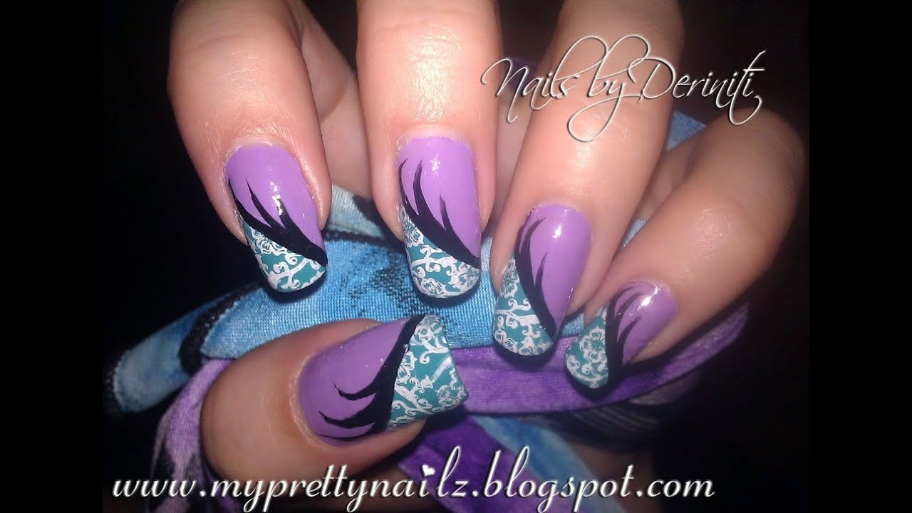 Fun edgy floral print purple and teal nail art paint and stamping tutorial youtube