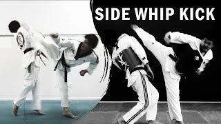 How to Taekwondo Side Whip (Hook) Kick Tutorial (Sparring) | TaekwonWoo