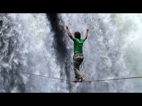 Pair complete daring slackline crossing of Victoria Falls in Zimbabwe