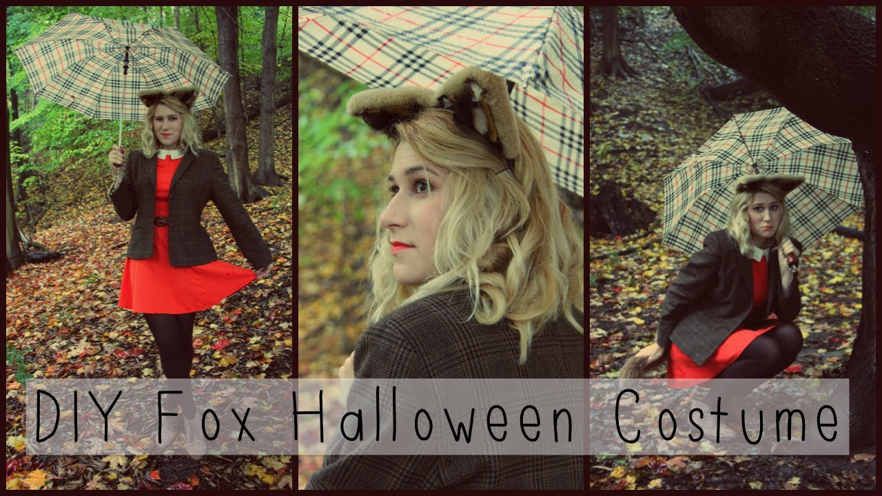 DIY Fox Halloween Costume Makeup Hair Outfit Ears Tail