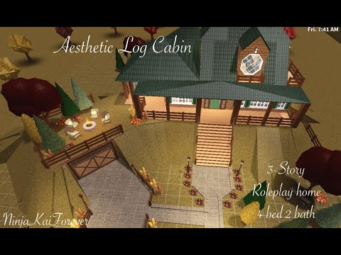 Roblox Log Cabin Roblox Bloxburg Tour Aesthetic Log Cabin Build With New Fall Updates Youtube