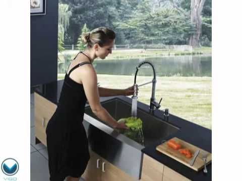 36 Inch Kitchen Sink Round Table Vigo Vg3620c Farmhouse 16 Gauge Single Bowl