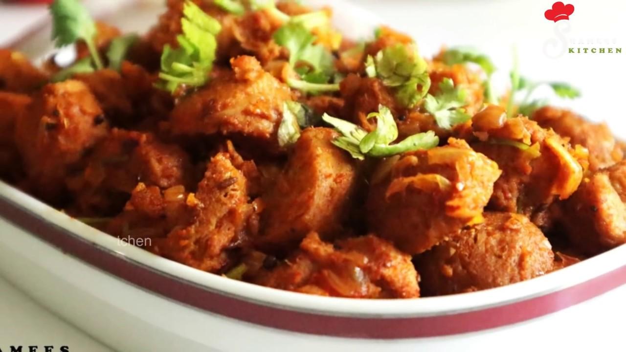 Soya Chunks Roast Healthy Soybean Recipe Spicy Soya Chunks Dry Recipe Youtube