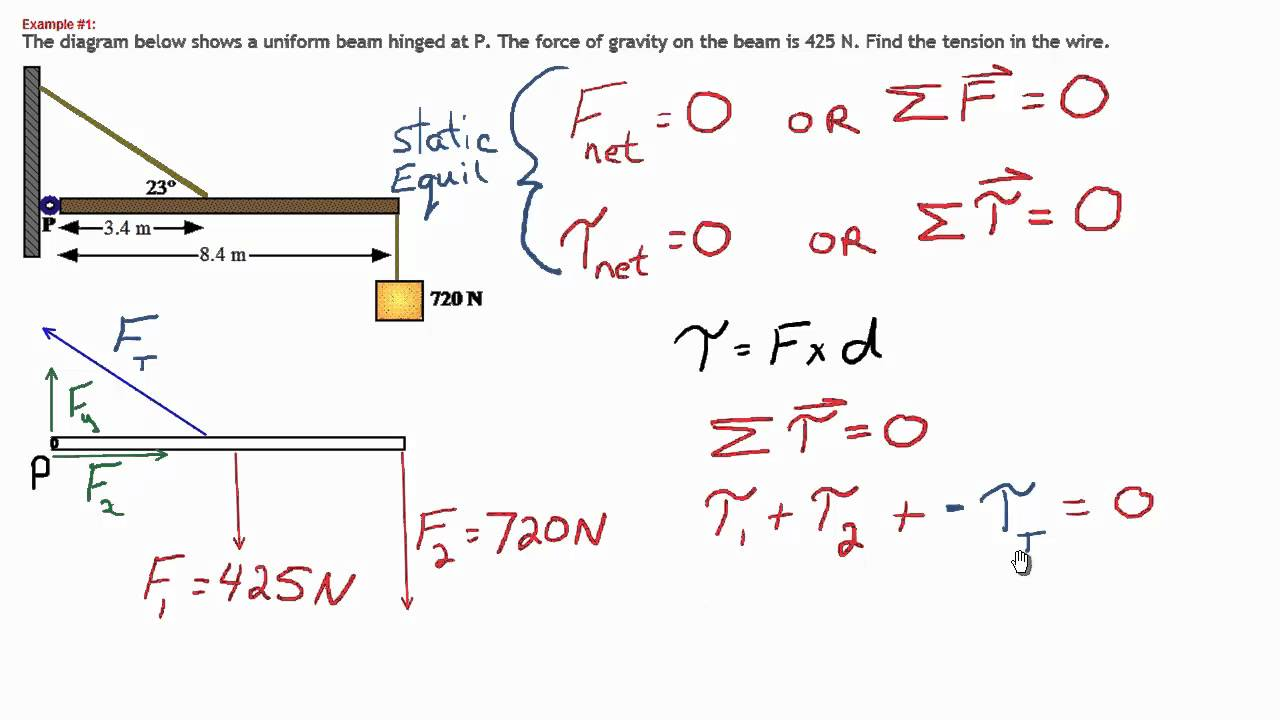 static equilibrium sample problem 2 youtube
