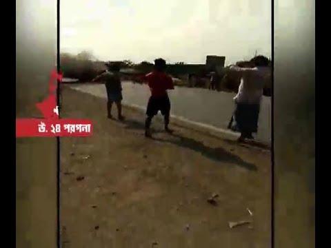 Chaos at N 24 Parganas Amdanga following road accident