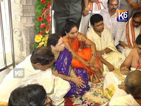 CM KCR Vemulawada Lo Pooja With Family-Part 1