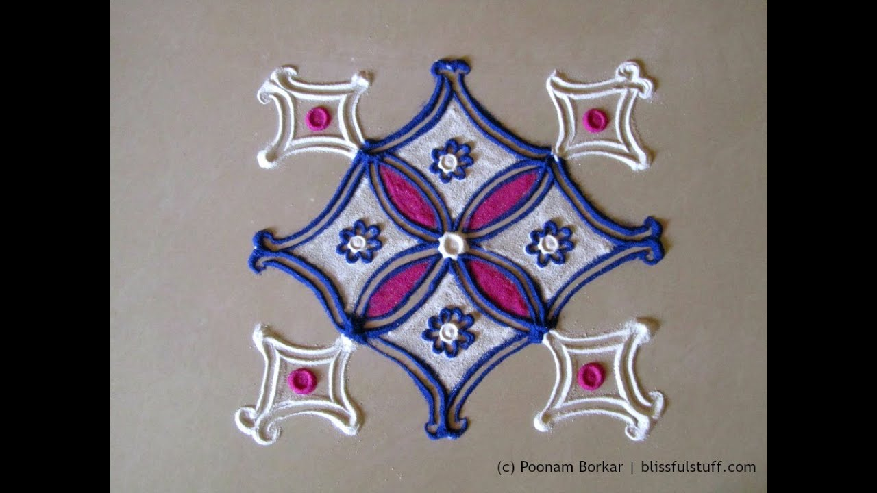 Easy and small 5 by 5 dots rangoli Creative rangoli designs by