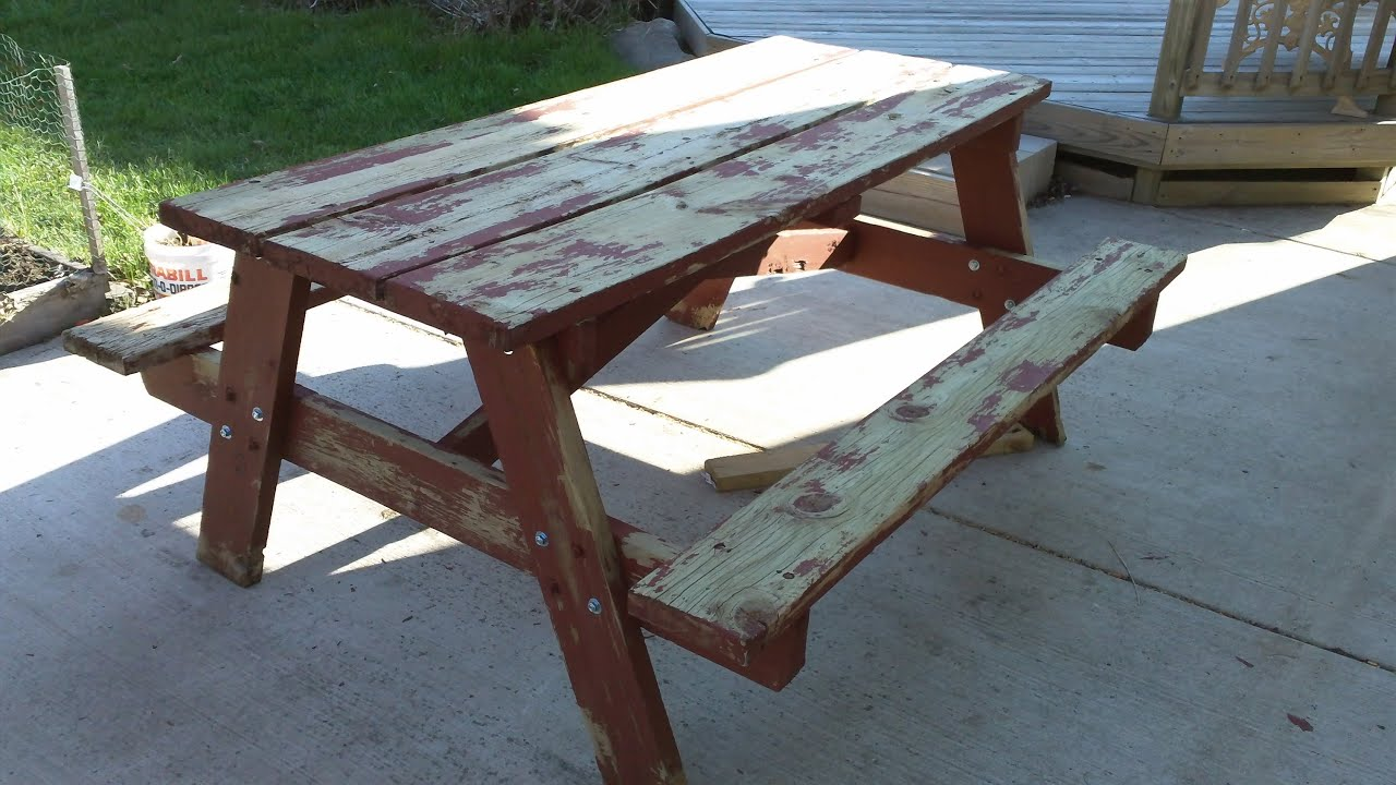 Rehab An Old Picnic Table YouTube - How to stain a picnic table