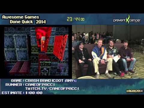 Crash Bandicoot :: SPEED RUN (0:46:13) by CaneofPacci [PS1] #AGDQ 2014