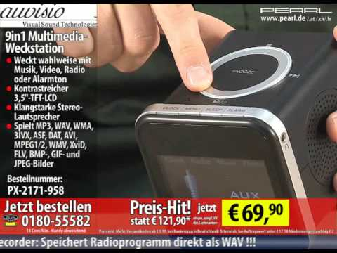 auvisio 9in1 Multimedia-Weckstation mit 2GB MP3/Video/Foto/Radio/SD