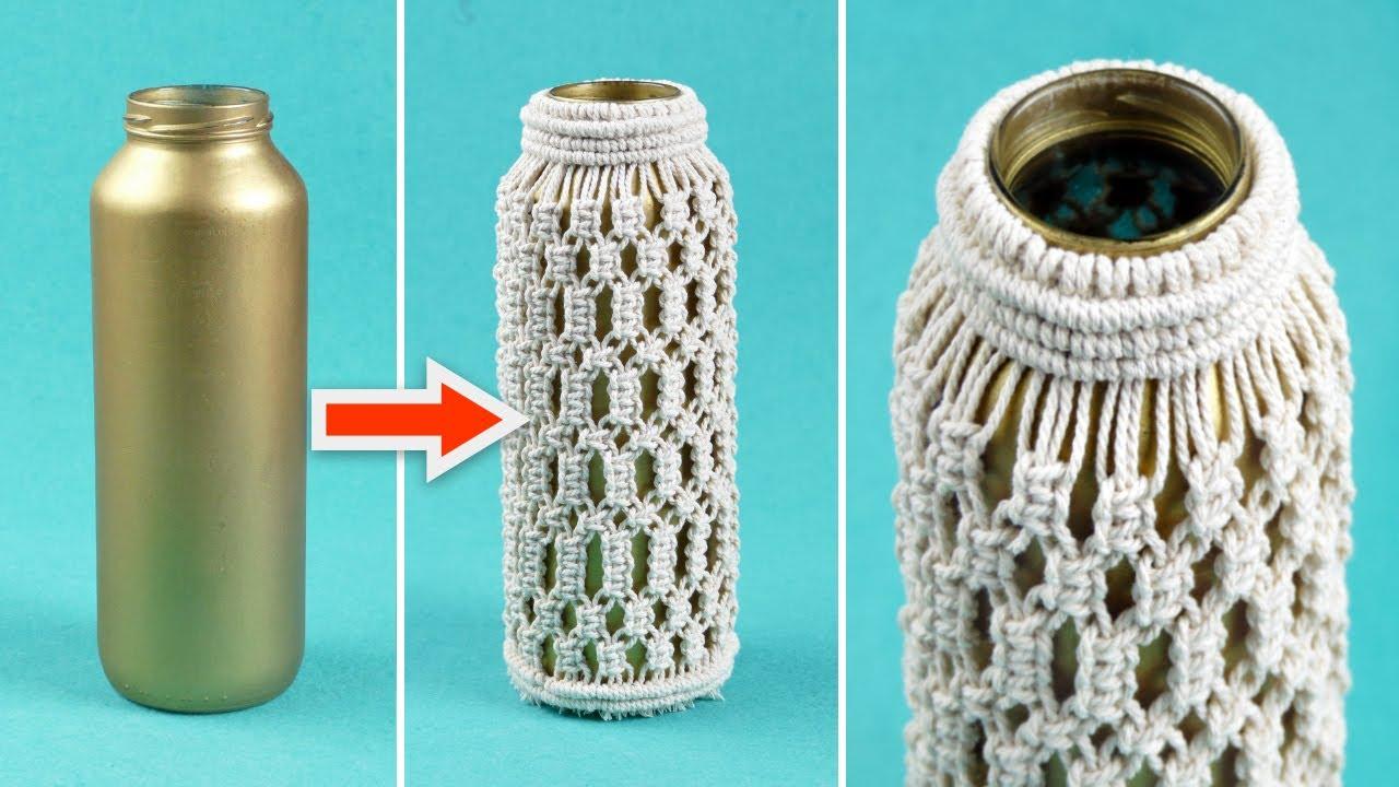 Turn Glass Bottle into Boho Flower Vase | Easy Macrame Crafts and Room Decoration Ideas