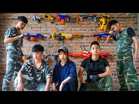 Hihahe Nerf War SWAT & Police Girl Nerf Guns Criminal Group The Endless Nerf War