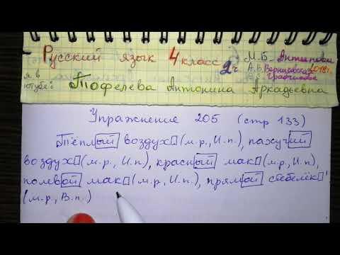 Упр 205 стр 133 Русский язык 4 класс 2 часть Антипова повторение