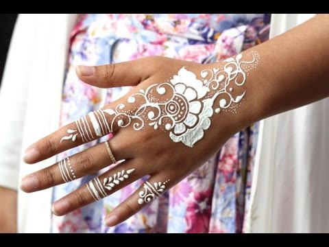 How To Apply White Henna Body Paint Temporary Tattoo Tutorial 7