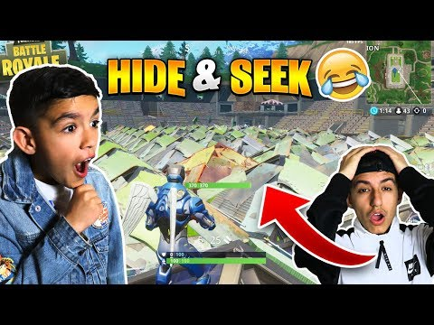 Fortnite Hilarious Hide And Seek Challenge With 10 Year Old Little Brother!