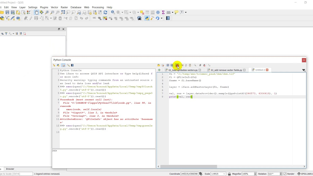 QGIS Python (PyQGIS) - Query raster value at point