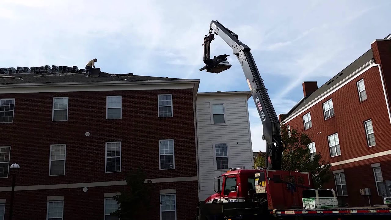 ABC Supply Crane Operator Does Roofing Job At University Village Of  Slippery Rock
