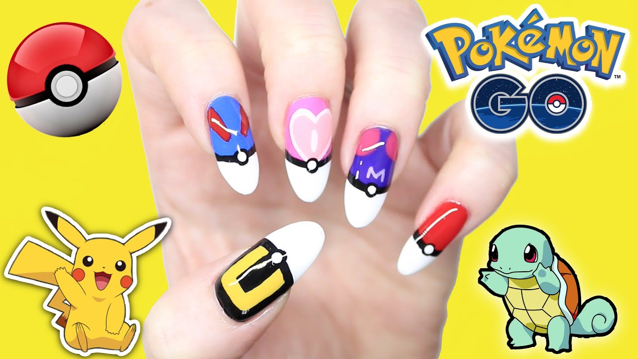 Pokemon Go Nail Art Pokeball French Tip Nails Collab Red Ted You