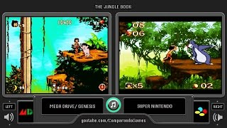 The Jungle Book (Sega Genesis vs Snes) Side by Side Comparison