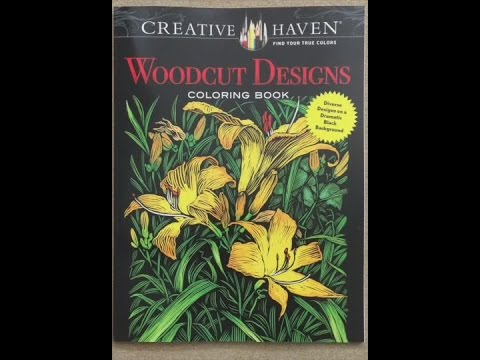 Creative Haven Woodcut Designs Coloring Book On A Dramatic Black Background Flip Through