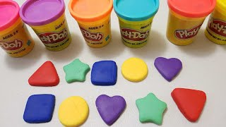 learn colors shapes and play doh modeling clay making shapes
