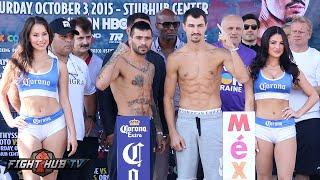 Lucas Matthysse vs. Viktor Postol full video-Complete Weigh In & Face Off