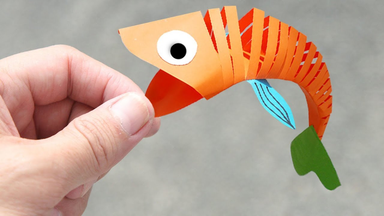 How To Make Moving Fish Diy Paper Craft For Kids Crafts Junction