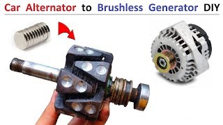 12V Car Alternator to Brushless Generator Self Excited - Amazing Idea DIY