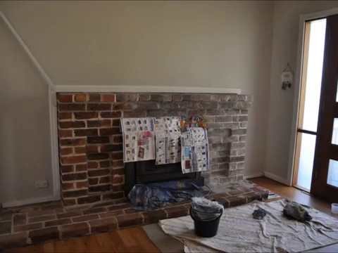 Whitewashing A Brick Fireplace Youtube