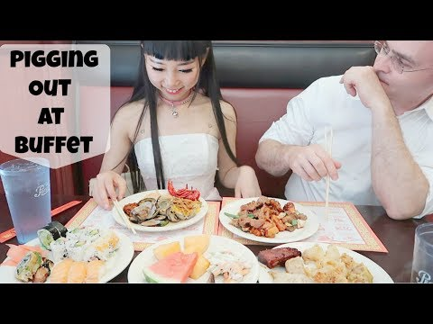 Boyfriend and Girlfriend Pigging Out at Chinese Buffet