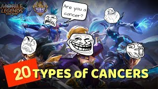 20 TYPES of CANCERS in Mobile Legends