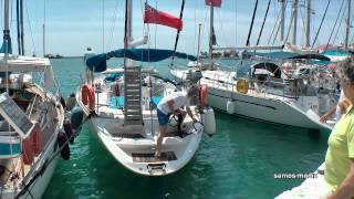 Sailboat mooring in the port of Pythagorion - Samos island, Greece/Ελλάδα (HD 1080p)