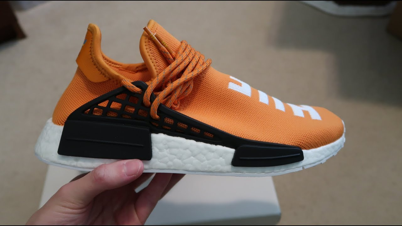 the latest d8607 4a4e8 Adidas NMD Pharrell Human Race 'Tangerine' Sneaker Unboxing