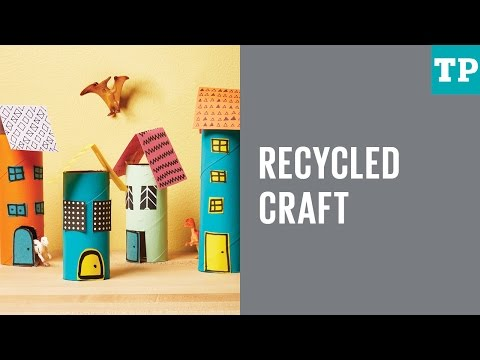 Recycled craft: Paper roll mini city