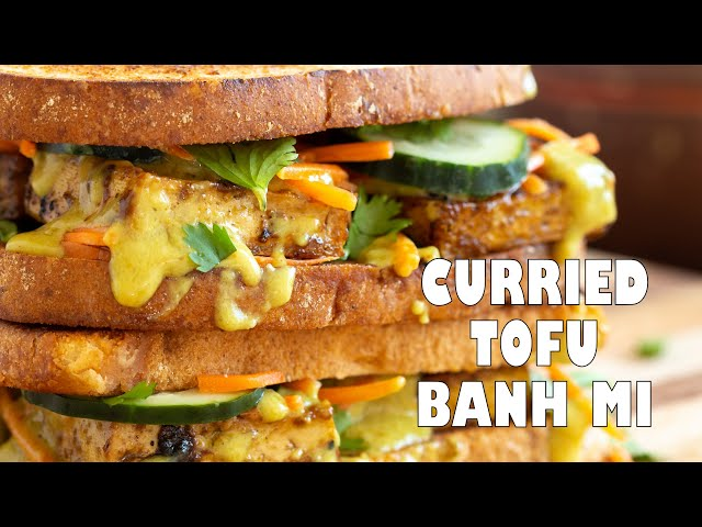 CURRIED TOFU BANH MI With Quick pickled veggies, Coconut Curry Sauce | Vegan Richa Recipes