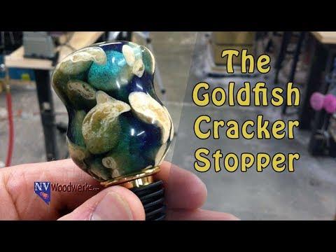 Goldfish Crackers Cast In Alumilite Wine Bottle Stopper | Dunkin Junk - Resin Cast Turning Blanks
