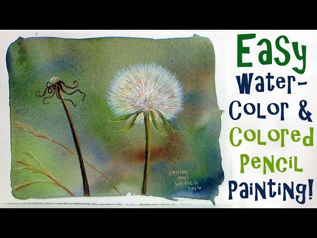 Dandelion Fluff In Watercolor Colored Pencils