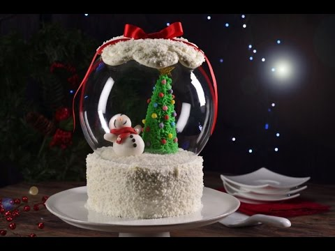 Adorable Pastel de Navidad con Coco en forma de Esfera de nieve